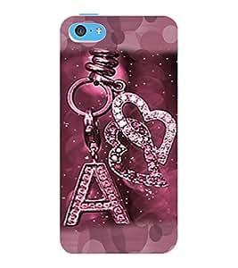 "ColourCraft Alphabet ""A"" Key Chain Design Back Case Cover for APPLE IPHONE 5C"
