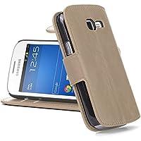 Galaxy Trend Lite Hülle, JAMMYLIZARD Retro Ledertasche Flip Cover für Samsung Galaxy Trend Lite / Galaxy Fresh, CAPPUCCINO