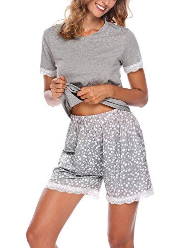 Ekouaer Damen Shorty 2-tlg. Schlafanzug Baumwolle Pyjama Set Kurz Nachtwäsche Kurzarm Shirt & Shorts unifarbe schwarz/grau/weiss, 6877_Grau, EU36/S