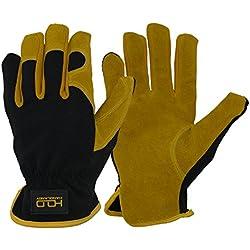 Guantes de trabajo de cuero para conductores, mecánicos, jardineros, etc.; diseño de cuero bovino de primera calidad transpirable, amarillo y negro