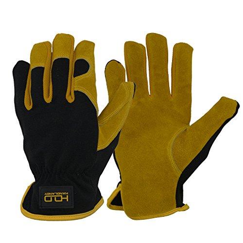 Leder Hybrid Arbeitshandschuhe, Premium Rindsleder Split Utility Handschuhe für Das Fahren, Mechanik, Gartenarbeit - Geschicklichkeit & Breathable Design (M)