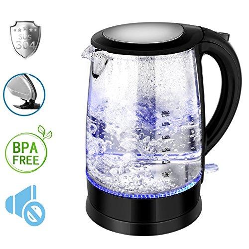 Wasserkocher aus Glas, ikich Wasserkocher zu Wasser Premium, Mundstück aus Edelstahl 304, professionelle Kontrolle des Thermostat, Wasserkocher Glas Hohe Kapazität Automatische Abschaltung mit Schutz anti-ébullition ab 1.7L, 1500Watt:
