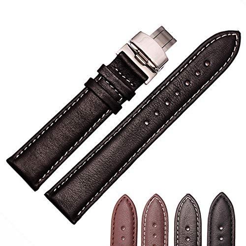 18mm Armband 19mm 20mm 22mm Verfügbar Genitalsit-Watchstrap-Lins1195 Neue Armbanduhr männer Hochwertige Schwarzes Schweißband Echtes Leder Uhrenarmbänder Riemen Schmetterling Stahlverschluss -