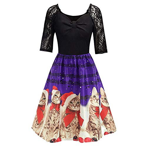Yacht Rock Kostüm - Xmiral Weihnachten Kleid Damen Elegant Vintage Xmas Print Langarm Abend Party Kostüm (M,Violett4)
