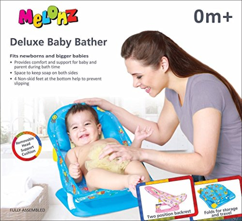 Melonz Deluxe Baby Bather With Head Support Pillow (blue)
