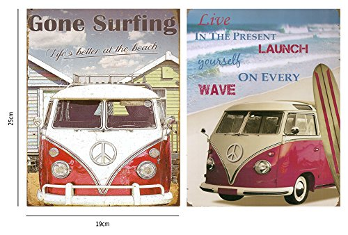 Cuadro vintage furgoneta de surf hippie. set de 2 unidades