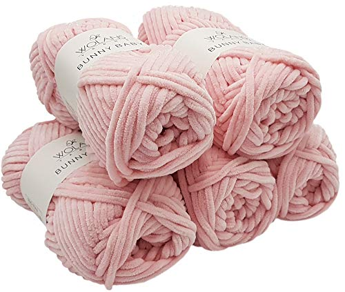 Bunny Baby 5 x 100 Gramm Wolans Strickwolle, Babywolle, 500 Gramm Wolle Super Bulky Supersoft (Hellrosa 1004) - Himalaya-garn