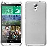 PhoneNatic Case kompatibel mit HTC Desire 620 - weiß Silikon Hülle Brushed + 2 Schutzfolien