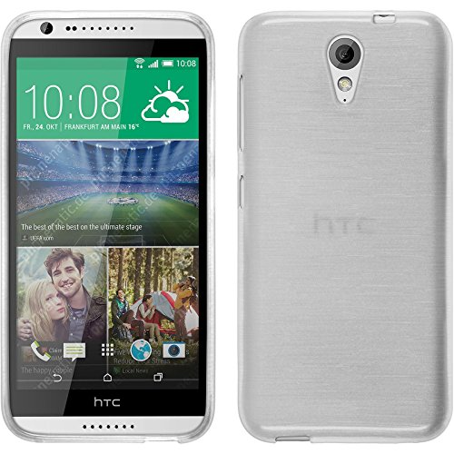 PhoneNatic Case für HTC Desire 620 Hülle Silikon weiß brushed Cover Desire 620 Tasche + 2 Schutzfolien