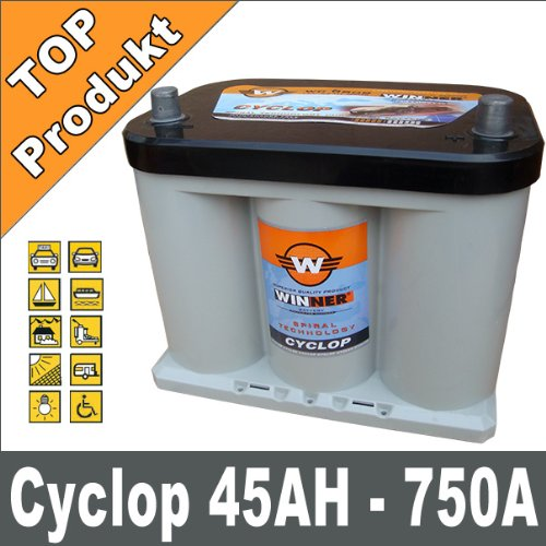 Spiral 45Ah 750A AGM GEL Mover Solar Boots Batterie Car HiFi kompatibel Optima Starterbatterie