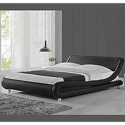 Muebles Bonitos - Cama de matrimonio de diseño Alessia en color negro 160 x 200 cm