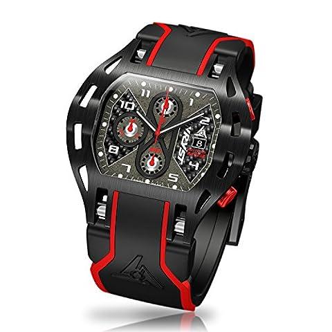 Montre Noire Fibre de Carbone Wryst Motors MS3 Swiss Made DLC Noir