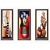 #4: Wens Special Flowers with Pot MDF Wall Art (43 cm x 18 cm x 1 cm, Set of 3)
