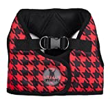 The Worthy Dog Bedruckt Sidekick Houndstooth Hundegeschirr, rot/schwarz, XL