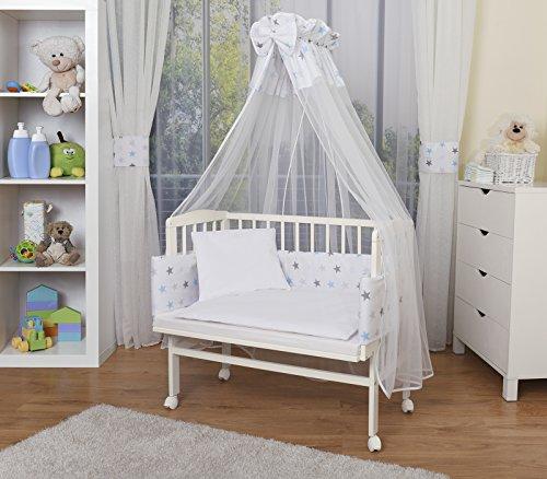 Rollen Bett (WALDIN Baby Beistellbett komplett mit Ausstattung, höhen-verstellbar, Buche Massiv-Holz weiß lackiert, 14 Modelle wählbar,Sterne grau/blau)