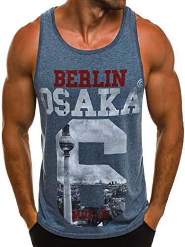 OZONEE Herren Tanktop Tank Top Tankshirt T-Shirt mit Print Unterhemden Ärmellos Weste Muskelshirt Fitness BREEZY 724 Dunkelblau_MAD-1977