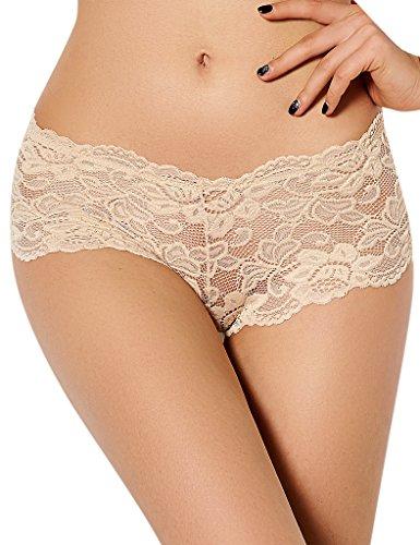 ohyeahlady Damen Übergröße Floralen Spitze Unterwäsche Unterhosen Transparente Panties Hipsters- Gr. 6X-Large=EUR 50-52, Beige