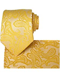KissTies Mens Tie Set: Paisley Necktie + Hanky Pocket Square + Gift Box
