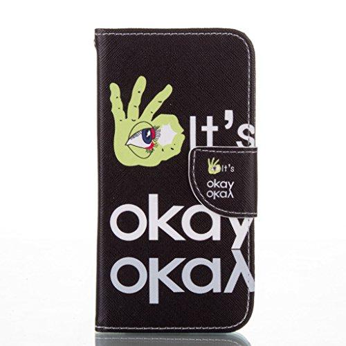 Custodia per iPhone 5, iPhone 5S, iPhone SE Custodia, idatog (TM) Flip Magnetica Custodia a Libro, con protezione per lo schermo in vetro temperato], Colorful Design Pattern PU in pelle pieghevole cus Okay