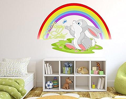Wandsticker Happy Easter Häschen B x H: 120cm x 80cm von Klebefieber®