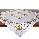 Tischdecke Schmetterlinge IM Sommer, 85x85 cm, weiß, Moderne Tischdecke für Küche und Garten
