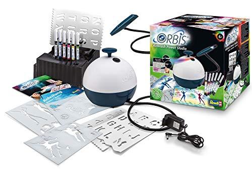 Orbis 30020 power studio, set completo di alta qualità per bambini, pulito, facile da inserire e spruzzare, con compressore e molti accessori per aerografo per bambini