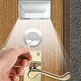 Tür Schlüsselloch LED Bewegungsmelder Licht, PIR Infrarot-IR-Funk-Automatische Sensor Lock Lampe, batteriebetrieben 4LED Leuchtmittel (Silber)