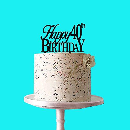 Happy 40th Birthday Cake Topper Acryl Schwarz für 40. Geburtstag Party Dekoration