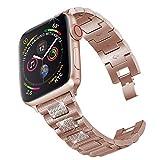 PUGO TOP Bling Correa Compatible para Apple Watch Series 4 40 mm/44 mm, Series 3/2/1 38 mm/42 mm, Repuesto de Correa de Acero Inoxidable para iWatch de Mujer