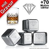 Eiswürfel mit Gravur'Diamant + Wunschtext' + gratis Samtbeutel ** 4 wiederverwendbare Edelstahl Eiswürfel ** kühlen Sie Ihre Getränke mit Stil ** keine Verwässerung mehr für puren Trinkgenuss ** Hersteller: vacu vin ** Whiskey Kühlsteine Whisky Steine Whiskysteine Ice Cubes Set