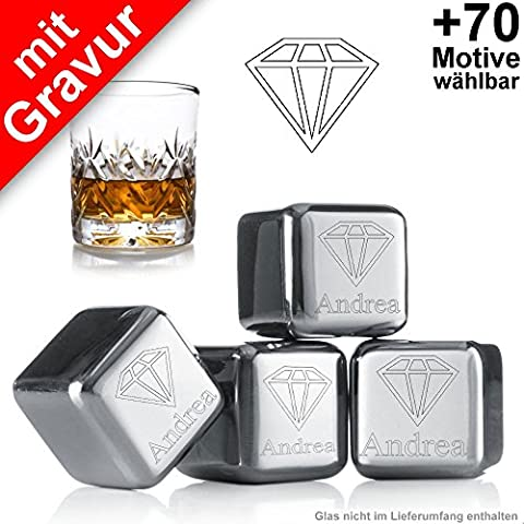 """Eiswürfel mit Gravur """"Diamant + Wunschtext"""" + gratis Samtbeutel ** 4 wiederverwendbare Edelstahl Eiswürfel ** kühlen Sie Ihre Getränke mit Stil ** keine Verwässerung mehr für puren Trinkgenuss ** Hersteller: vacu vin ** Whiskey Kühlsteine Whisky Steine Whiskysteine Ice Cubes Set"""