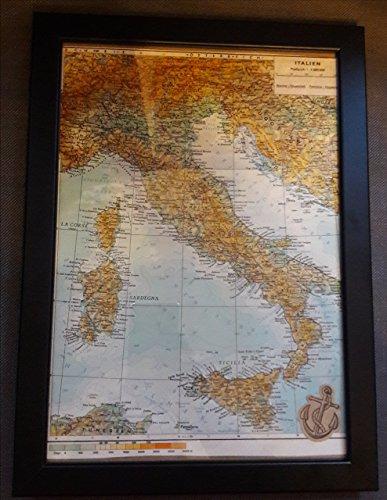 """""""Italien"""" Bild (Atlas Karte Welt) - Reisegeschenk"""
