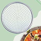 Plaque à pizza ronde anti-adhésive en acier inoxydable - Poêle à pizza - Plat à pizza en acier inoxydable - 35,6 cm