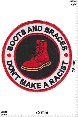 Patch-Iron-Boots and Braces Dont'n make a Racist - - Punks - No Nazi - Punk - Iron On Patches - Aufnäher Embleme Bügelbild Aufbügler (Rücken Punk Patches)