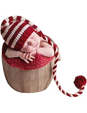 EROSPA® Baby Strick-Mütze mit extra langer Bommel Weihnachten Christmas Neugeborene Fotografie Geschenk