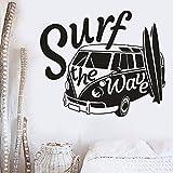 Qbbes 83 * 70 Cm Surf The Wave Sticker Mural Voyage Auto Voiture Wall Sticker Été Camper Mur Art Stickers Surf Amant CadeauArt Sport Gym Surfer Mer