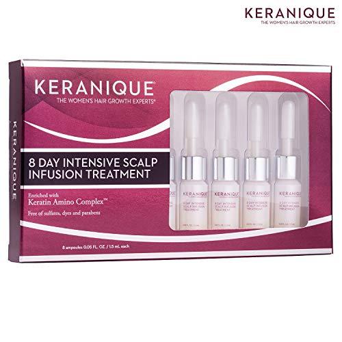 Keranique 8 giorni di trattamento intensivo per infusione del cuoio capelluto (8 fiale), 1,5 fl oz - complesso amino cheratinico - aiuta a far apparire i capelli più spessi, rinforza, protegge, offre