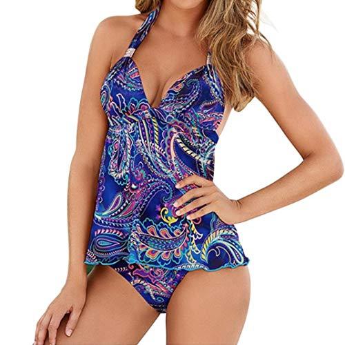 MRULIC Badeanzug 2 Stück Damen Tankini Swim Kleid Beachwear Gefärbt Charmant Bademode Plus Size...