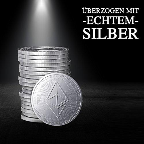 Physische Ethereum Münze als Schlüsselanhänger mit echtem Silber überzogen. Wahres Sammlerstück mit Schlüsselring. Ein Muss für jeden Bitcoin-Fan + GRATIS E-Book gegen Cyber-Attacken - 2