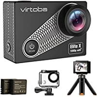 Action Cam, Virtoba Elite X 4K/1080P 30fps HD 16MP WiFi Sport Videocamera Subacquea Action Camera con Display LCD 2 '' (con case) Impermeabile 30M, Vista Grandangolare 170 Gradi, 2 Batterie Ricaricabili 1050mAh, Treppiede e Molti Altri Accessori