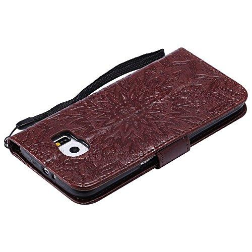 Für Samsung Galaxy S6 Fall, Prägen Sonnenblume Magnetic Pattern Premium Soft PU Leder Brieftasche Stand Case Cover mit Lanyard & Halter & Card Slots ( Color : Blue ) Brown