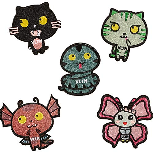 Obctk Freies Verschiffen 5 Stücke Bügeln-Flecken-Flecken, DIY Geschenk-Tuch-Abzeichen-Stickerei-Flecken-Flecken, Katze Kostüm-Rucksack-Jacken-Jeans-T-Shirt, erwachsenes Kindergeschenk -