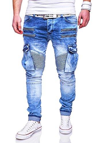 MT Styles Zipper Biker Jeans Slim Fit Hellblau Hose RJ-3196-3 [Hellblau, W31/L32]