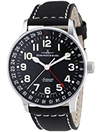 Zeno Watch Basel Pilot XL p554Z-a1 - Reloj de caballero automático, correa de piel color negro