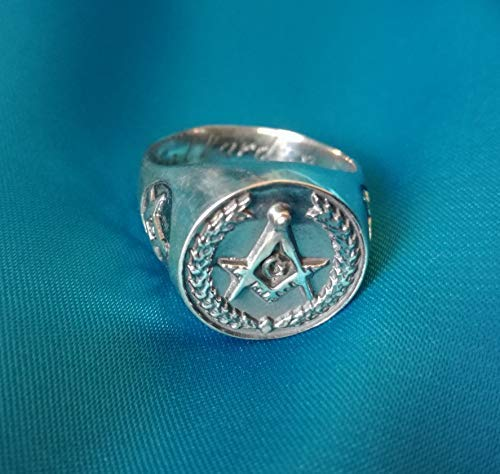 Square and Compass Masonic ring - Laurel Wreath   Lodge Ring   Vintage Masonic Ring   Freemason Fraternity Ring   Sterling Silver 925, Yellow, White Gold   Handmade   All Sizes Vintage Laurel