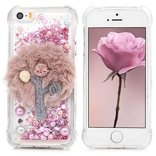 GODTOOK iPhone 5/iPhoneSE Coque Cas de téléphone Portable de Sable Anti-Chute TPU Diamant Or Rose Amour Arbre en Peluche