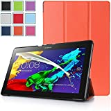 Bestdeal® High Quality Ultra Slim Lightweight SmartCover Stand Case for Lenovo Tab 2 A10-70 10.1 inch Tablet PC + Screen Protector and Stylus Pen (Orange)