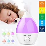 Ultrasonic Humidifier, OGIMA 1.3 Liter Aromatherapy Aroma Diffuser, Cool Mist Humidifier, 7 Color LED Light Quiet Operation with Waterless Auto Shut Off Function for Home Bedroom