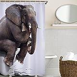 Wasserdicht Schimmel Beweis Bad Duschvorhang mit 12 Haken - Qualitäts-Polyester-Gewebe Duschvorhänge180*180,Die Bilder des Elefanten,Digitaler Druck,Nylon Material,Cartoon-Stil