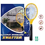 QcoQce Bug Zapper, Fly Zapper Racket with 2 AA Batteries, Electric Fly Swatter